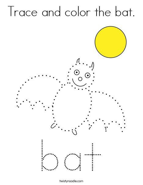 Trace and color the bat Coloring Page - Twisty Noodle ...