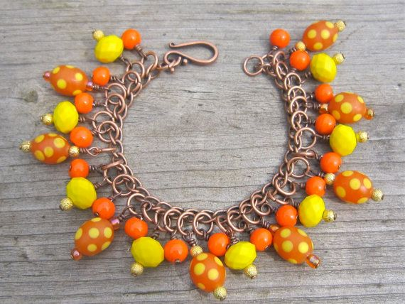 Sale! Bright spotty bracelet - tangerine, yellow - neon bracelet