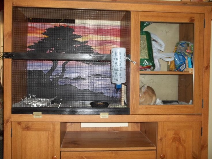 DIY rabbit hutch. Old entertainment center and a few materials makes a lovely new home:)