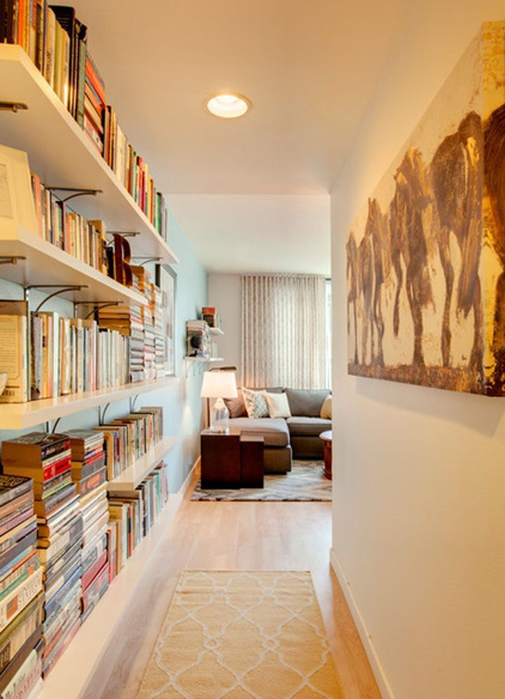 Modern Hallway Decoration Design Ideas. The storage system for books in the hallway for the lover of reading