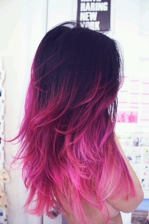 Plum to pink ombre