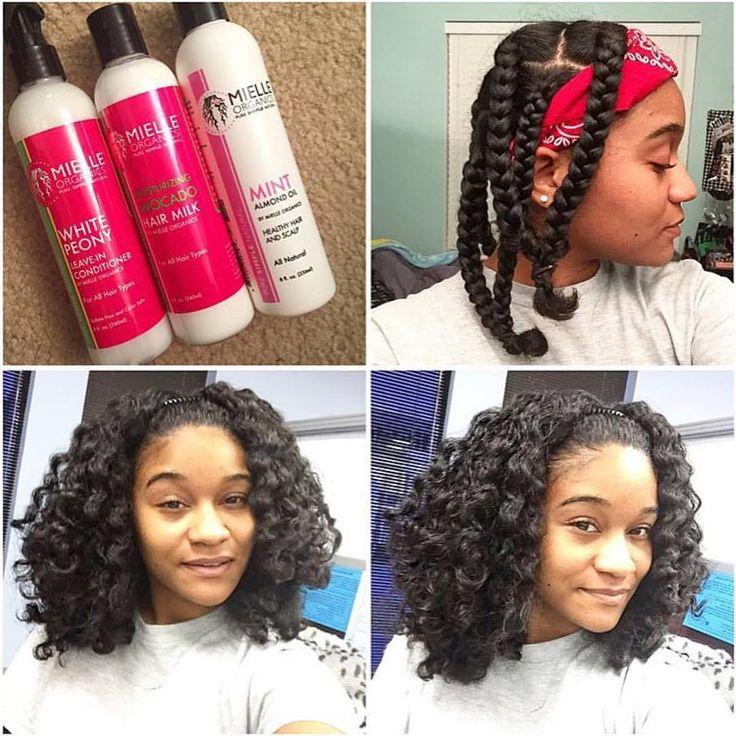 braid out on natural hair using mielle organics hair products
