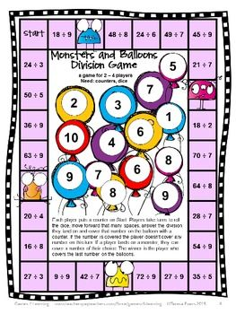 Division Games FREEBIE from by Games 4 Learning. Contains 2 printable NO PREP Division Games