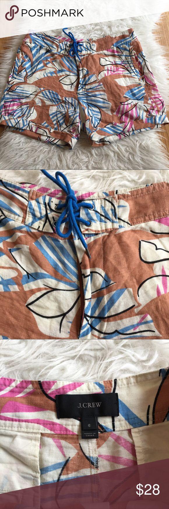 """J. Crew linen desert oasis shorts cuffed size 6 J. Crew Women's Desert Oasis Linen Board Shorts Tropical floral print zipper, hook and tie closure Cuffed hem  61% linen 39% cotton Size 6 16.5"""" flat across waist 4.5"""" Inseam J. Crew Shorts"""