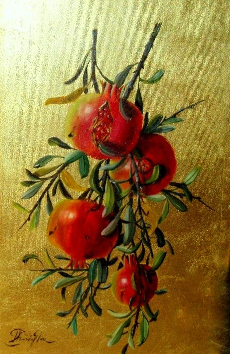 pomegranate still life painting on canvasand cold leaf, pomegranate branch, 11.8x19,7in 30x50cm