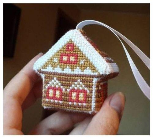 пряничный домик, схема вышивки крестом, елочные игрушки с вышивкой, елочные игрушки своими руками