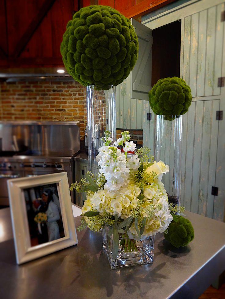 Rustic Barn Wedding - Fall Wedding - Hydrangeas, Roses, Eucalyptus, and Moss Balls   Baumann's Florist
