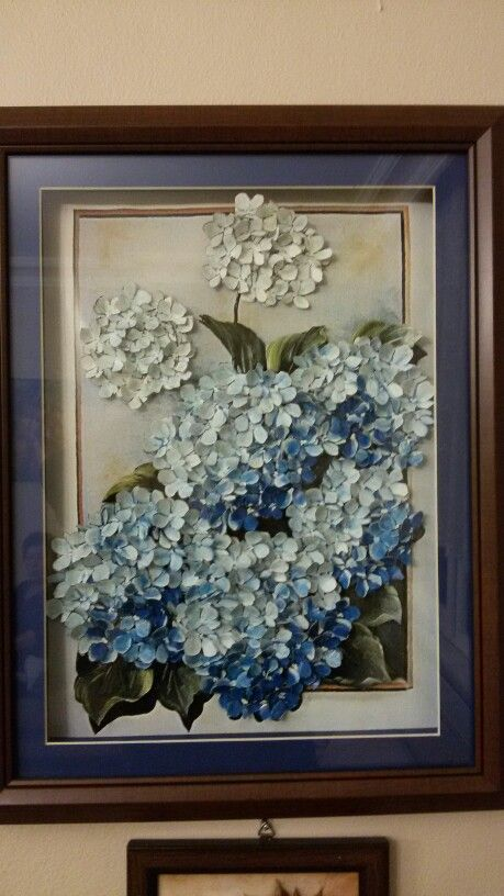 Kağıt rölyef ortanca çiçekleri