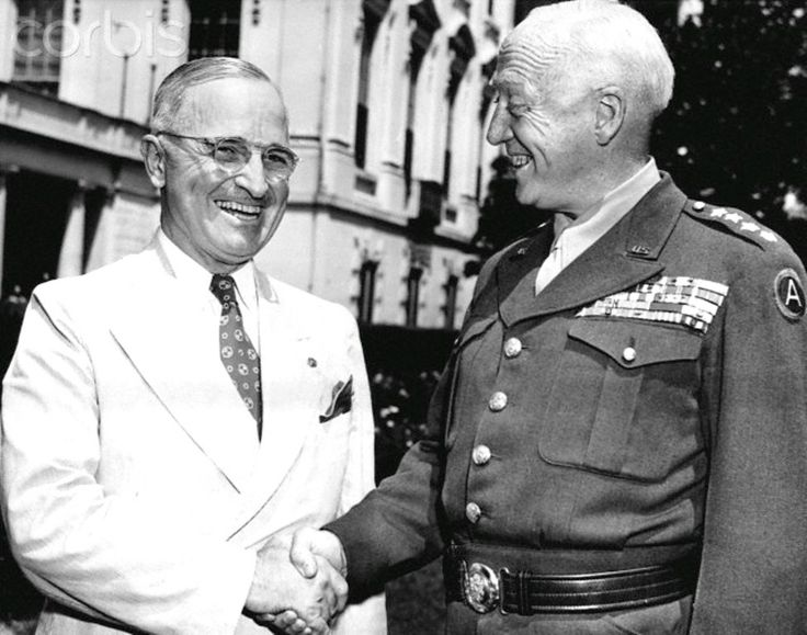Patton Meets Truman General George Patton, commander of the U.S. Third Army, visits President Harry Truman at the White House. June 18, 1945.  Date,ca. 1944-1945 ♡✿♡✿♡✿.❀♡✿♡❁♡✾♡✽♡❃♡❀♡✿♡✿♡✿♡✿♡   http://en.wikipedia.org/wiki/Harry_S._Truman     https://www.trumanlibrary.org/    http://en.wikipedia.org/wiki/George_S._Patton