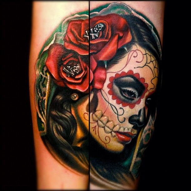 Day of the dead tattoo.                                                       …