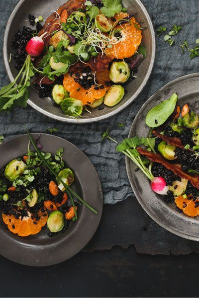 Brussels Sprouts, Clemengold & Black Rice Salad | Crush Magazine