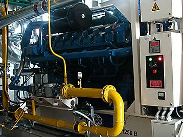 A generator set with complex Combined heat and power system with pipework