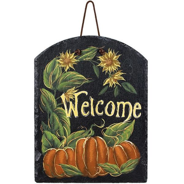 Painted genuine slate plaque displays cheery sunflowers and autumn pumpkins to welcome your guests and family to the fall season. Hang outdoors, in entryways, o