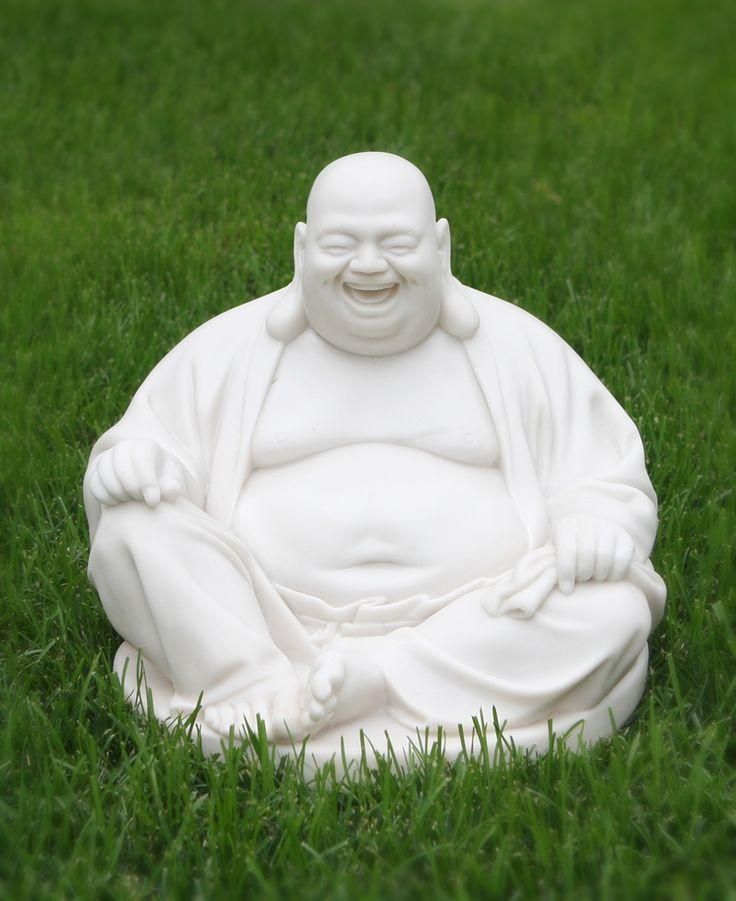Happy Buddha Statue In Pearl White Finish Indoor Outdoor