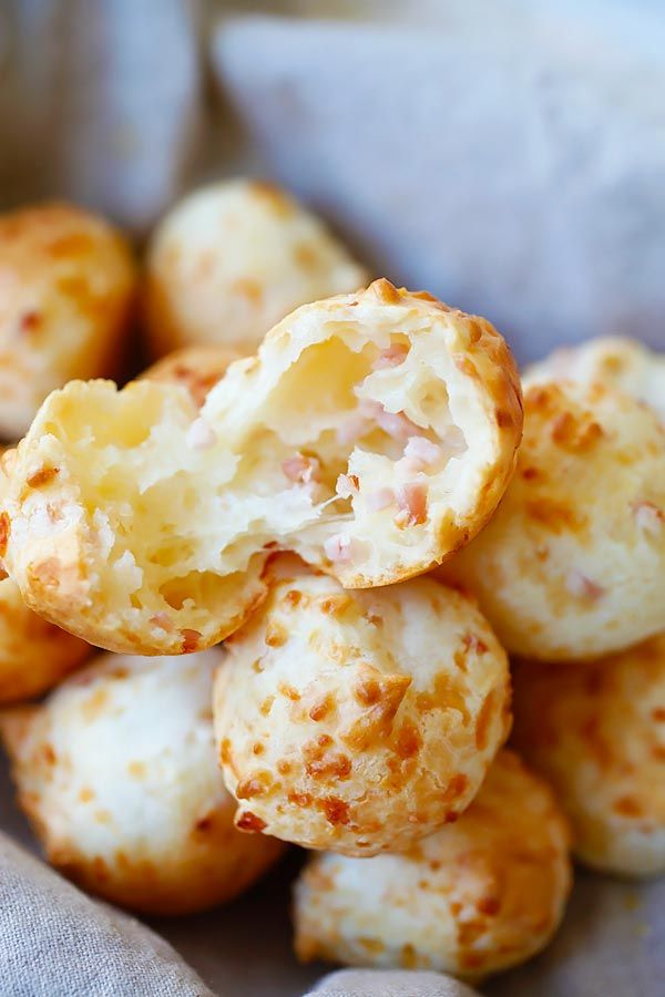Bacon Parmesan Gougeres - cheesy and savory Gougeres or French cheese puffs recipe. Every bite is loaded with bacon bits and Parmesan cheese, so good | rasamalaysia.com