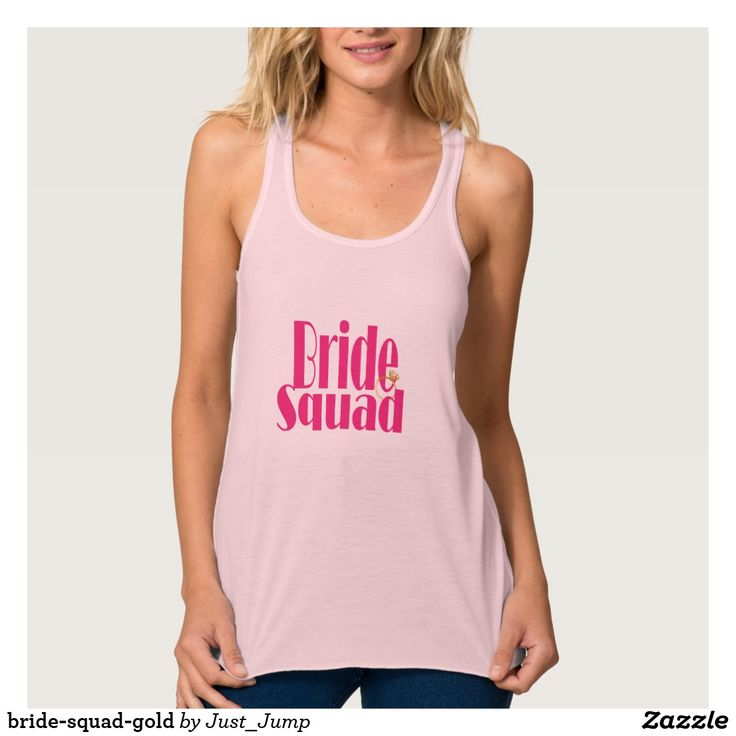 bride-squad-gold bridesmaid pink bachelorette tank maid of honour bridalshower