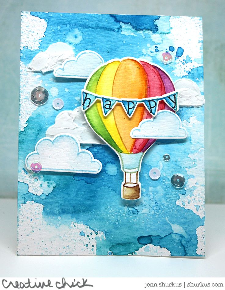Lawn Fawn - Blue Skies, Smitty's ABCs _  from the Lawn Fawn blog: A Beautiful Watercolor Blue Skies Card by Jenn!