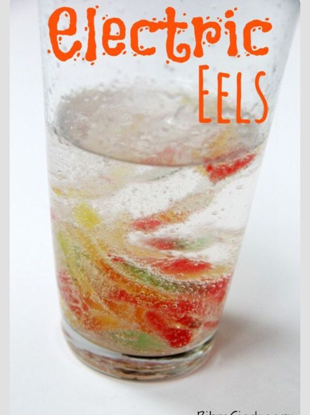 Sprite and sour gummy worms!  or should I say, electric eels!