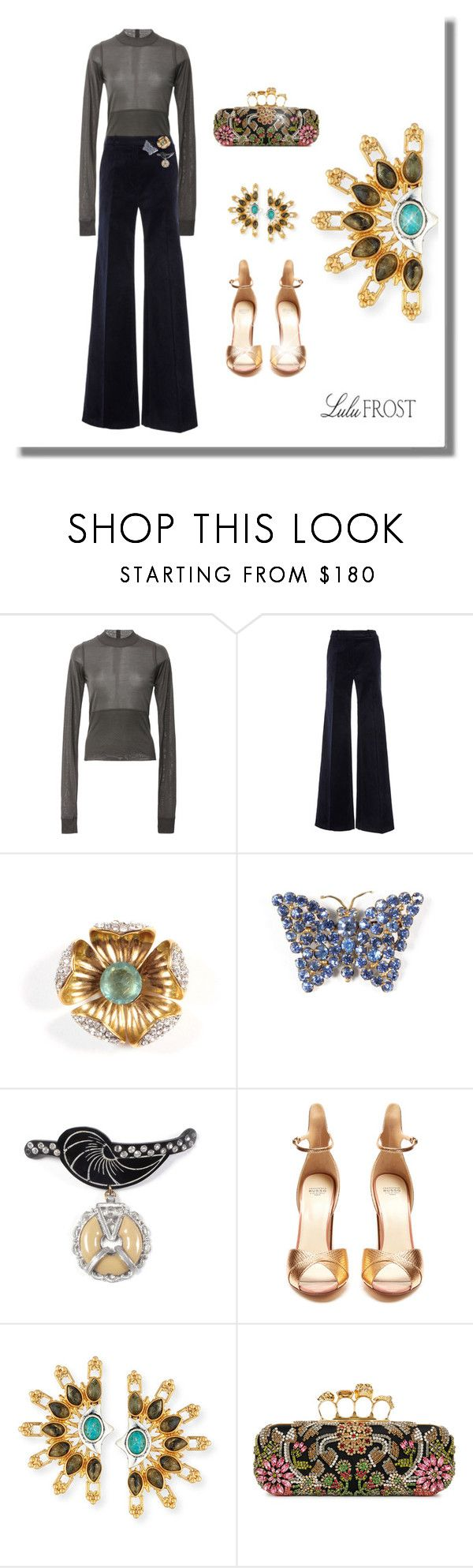 """""""Exquisite LuluFrost"""" by jacque-reid ❤ liked on Polyvore featuring Rick Owens, Martin Grant, Francesco Russo, Lulu Frost and Alexander McQueen"""