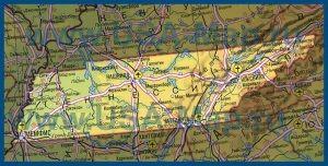 Карта Теннесси на русском языке
