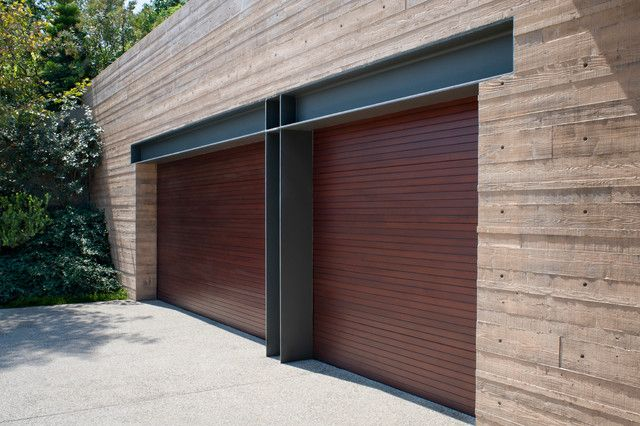 O Brien Garage Doors Garage And Shed Contemporary With Double Garage Doors Exposed Steel Headers Flat Roof Garage Garage Doors Garage Design Garage Exterior