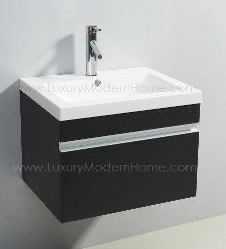 Vanity Sink Alexius Small Vanity Sink 24 Inch Espresso Floating Black Wall Hung Mount