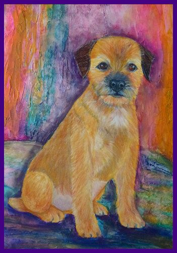 Border Terriër, hond kunst, lege kaart hondenliefhebber, tan, hond kunst, hondredding, bloemen, huisdier portret, oranje door RaelaKGallery op Etsy https://www.etsy.com/nl/listing/206016405/border-terrier-hond-kunst-lege-kaart