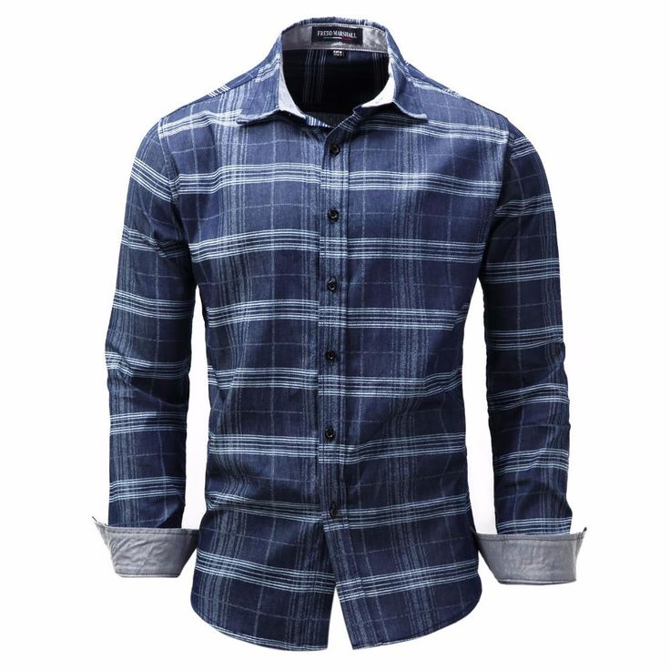New Blue Plaid Shirts Men Long Sleeve Leisure Denim Shirt Male Business Dress Shirt Camisa Masculina