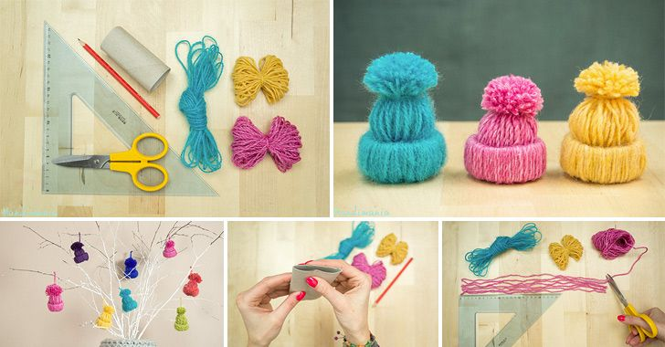 Little Yarn Hats Ornament #Tutorial