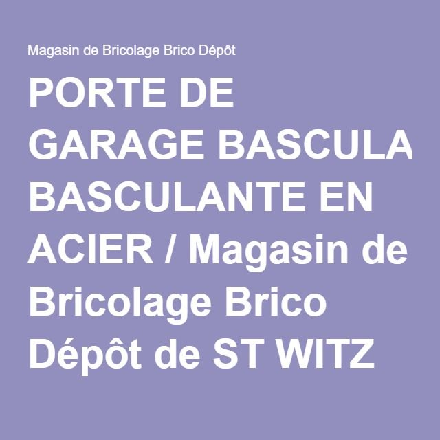PORTE DE GARAGE BASCULANTE EN ACIER / Magasin de Bricolage Brico Dépôt de ST WITZ