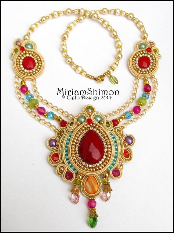 Cream Gold and Multi colored Soutache necklace by MiriamShimon, $190.00