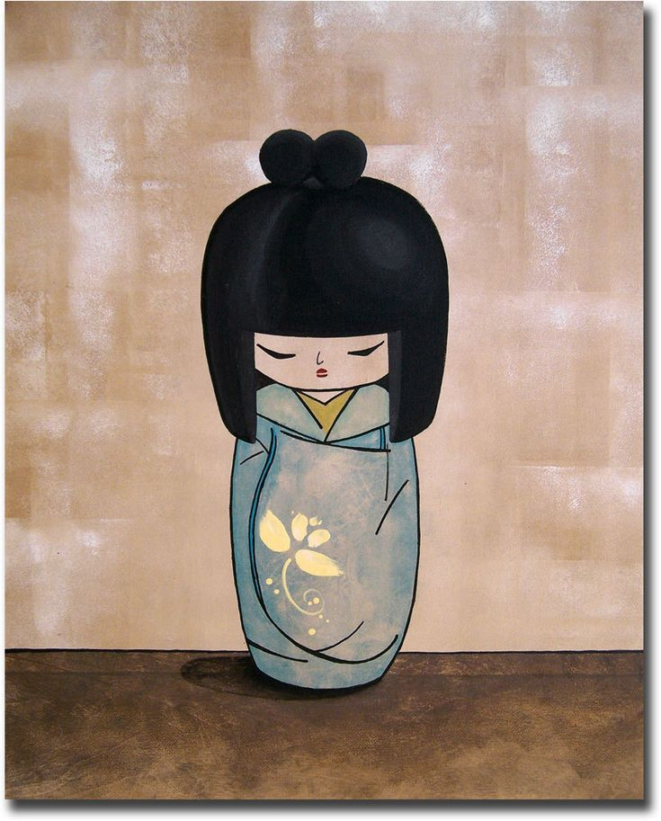 SONIEI, Japanese Kokeshi Doll Painting, Girl, Kimono, Modern Canvas Japanese Art | eBay | My Website: www.soniei.com