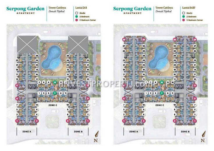 Floor plan apartemen Serpong Garden tower Cattleya