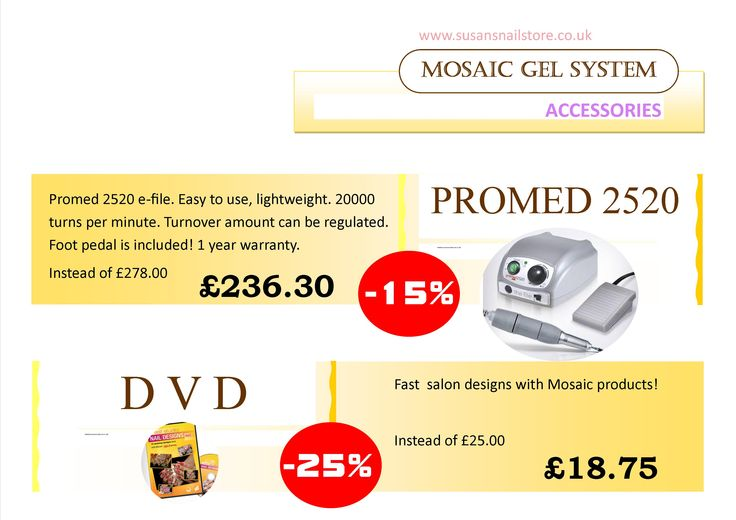 Enjoy up to 30% off from Mosaic products between 1-3 April, 2015 in store or online (until stock last)! Visit our website www.susansnailstore.co.uk