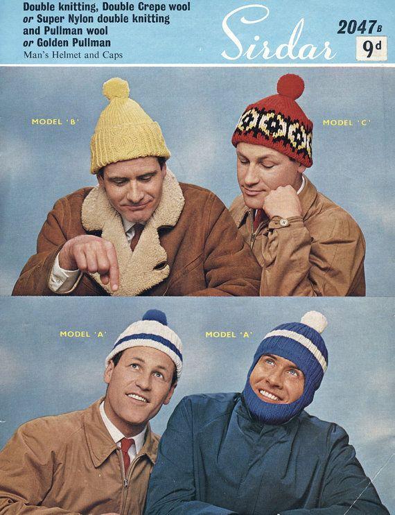 1960's Men's Bobble Hats Original Knitting Pattern VintagePatternCo, £3.90