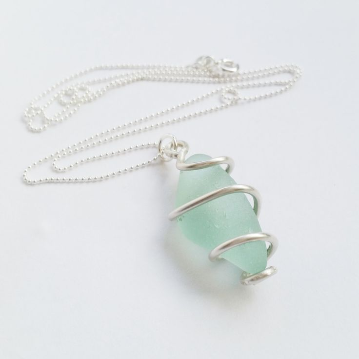Pale Blue Sea Glass Pendant, Spiralled Sterling Silver Wire, Genuine Sea Glass, Sterling Silver Necklace, Uk Seller. by Silverre on Etsy