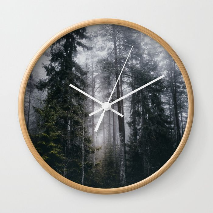Into the forest we go Wall Clock by HappyMelvin. #nature #forest #wanderlust #mystic #fog #wallclock #clocks