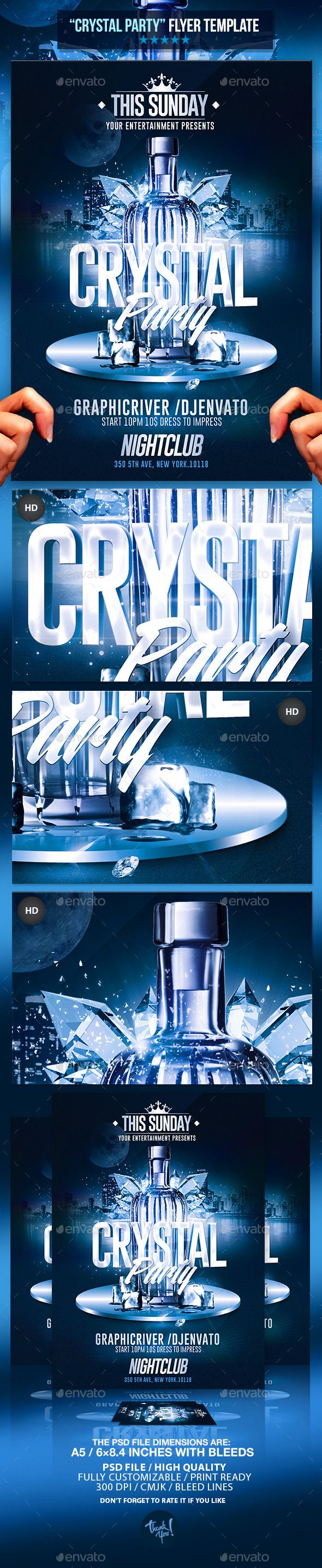 Poster design background psd - Crystal Bottle Party Psd Flyer Template