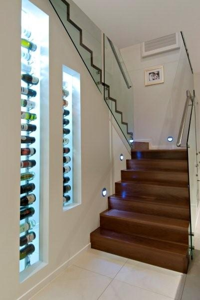 internal stairs and wine rack