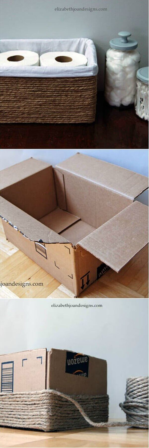 Creative Bathroom Basket from a Simple Box