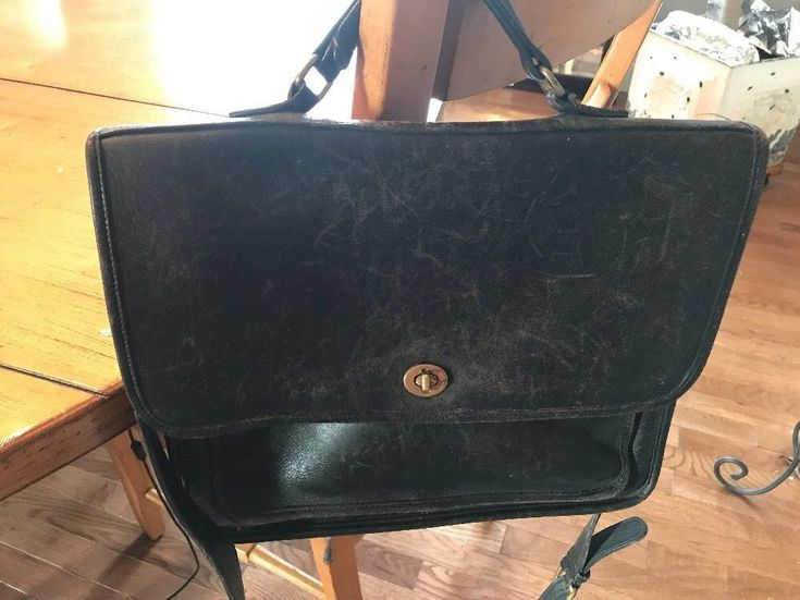 Vintage Coach Black Leather Small Briefcase Made In USA #Coach