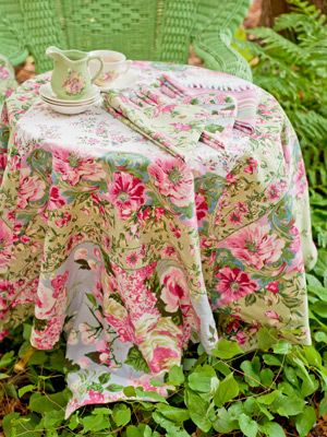 The Pale Green Vintage Chair.beautiful Floral, Vintage Cloth And Table  Setting. LIKE THE TABLE CLOTH. Shop April Cornell Table Cloths ...