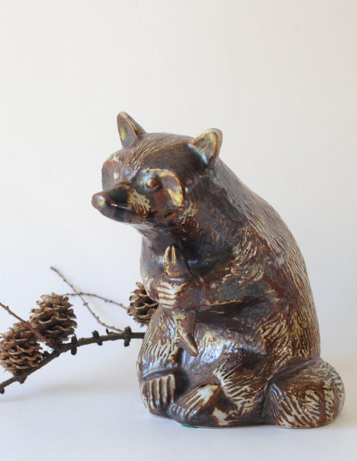 Haico Nitzsche for Soholm, Bornholm. A Beautiful large Raccoon figurine. Danish modern design by FridasVintage on Etsy