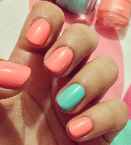 coral + mint accent mani <3 #nailart
