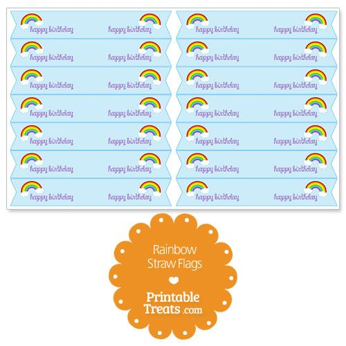 Printable Rainbow Straw Flags from PrintableTreats.com