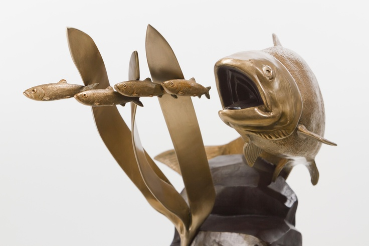 The Salmon is bronze sculpture that I sculpted and cast in my own bronze foundry.  It's a limited edition of 25.  www.sculpturebynathanscott.com