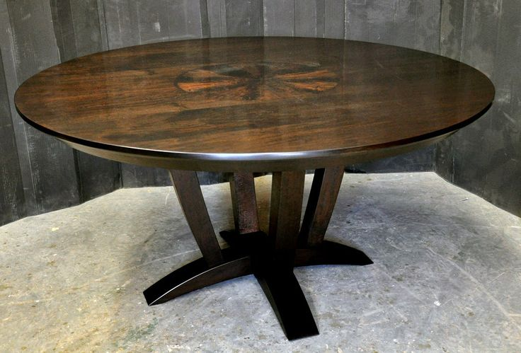 Round Walnut Dining Table With Custom Inlay And Espresso