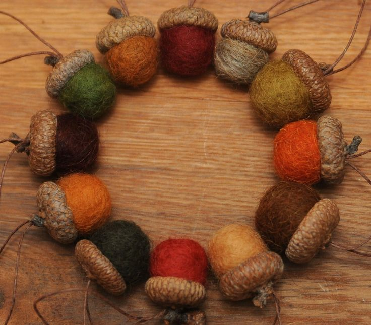 Felted Acorns in Fall Colors, Set of 12 Ornaments: Acorn Ornaments, Autumn Leaves, Fall Colors, Autumn Decor, Stones Houses, Fall Autumn Harvest, Autumn Colour, 12 Ornaments, Houses Crafts