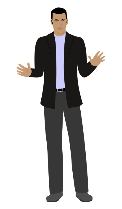 Customized illustration African American avatar for eLearning with Adobe Captivate, Articulate Storyline and Techsmith Camtasia.
