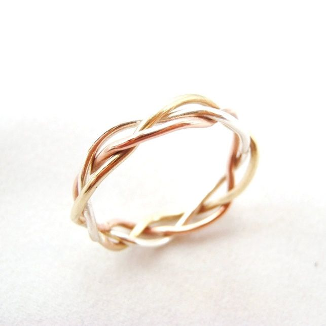 Tri Tone Braided Ring - Yellow Gold, Pink Gold, Sterling Silver Braid.